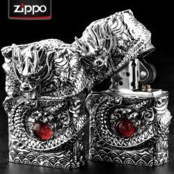 bật lửa Zippo chính hãng chạm hình rồng quấn quanh bật lửa giữ ngọc độc đáo - Mã SP: ZPC0009