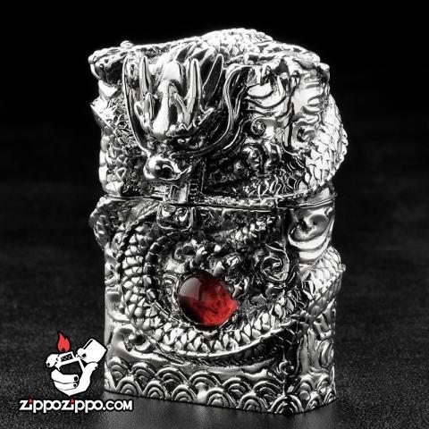 bật lửa Zippo chính hãng chạm hình rồng quấn quanh bật lửa giữ ngọc độc đáo