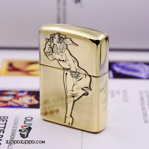 Bật lửa Zippo chính hãng đồng khối khắc cô gái biêu tượng zippo