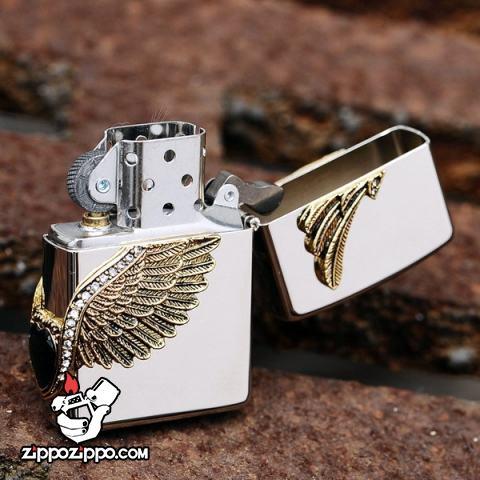Bật lửa Zippo chính hãng Cupid Wings màu trắng bạc
