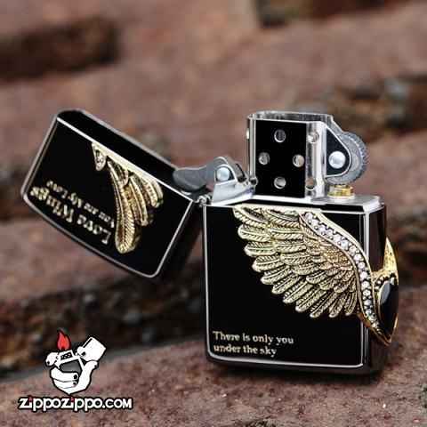 Bật lửa Zippo chính hãng Cupid Wings màu xám đen