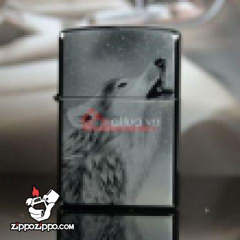 Bật lửa Zippo chính hãng đen hình Sói tuyết hú
