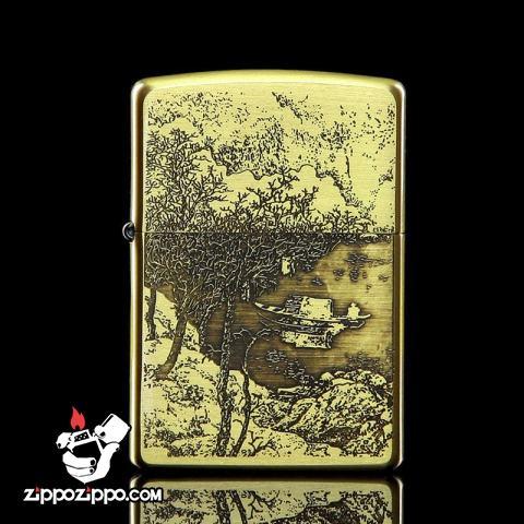 Bật lửa Zippo chính hãng đồng khắc Bức tranh mua thu