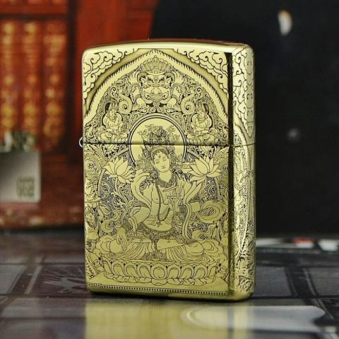 Bật lửa Zippo chính hãng đồng khắc đức Phật tinh tế