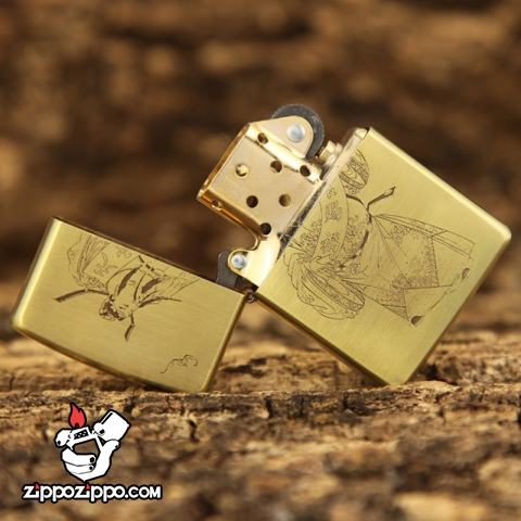 Bât lửa Zippo chính hãng đồng khắc ông Thần Tài may mắn