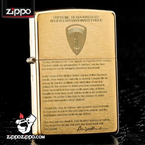 Bật lửa Zippo chính hãng đồng nhẹ khắc Eisenhower
