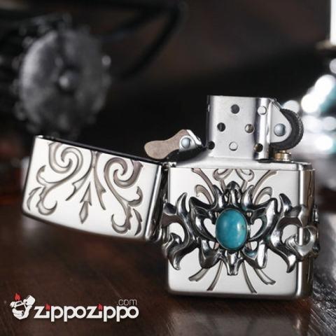 Bật Lửa  Zippo Chính Hãng Họa Tiết Ấn Độ Đính Ngọc