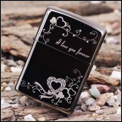 Bật lửa zippo chính hãng Hoa văn I love You - Mã SP: ZPC0178