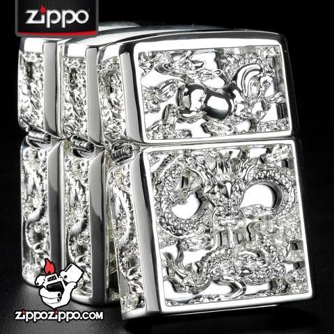 Bật lửa Zippo chính hãng long mã phiên bản bạc sắc sảo