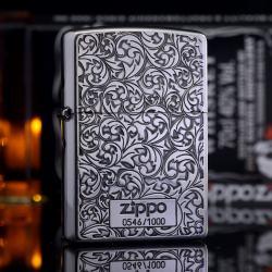 Bật Lửa Zippo Chính Hãng Mạ Bạc phiên bản giới hạn Khắc hai mặt arabesque - Mã SP: ZPC1951