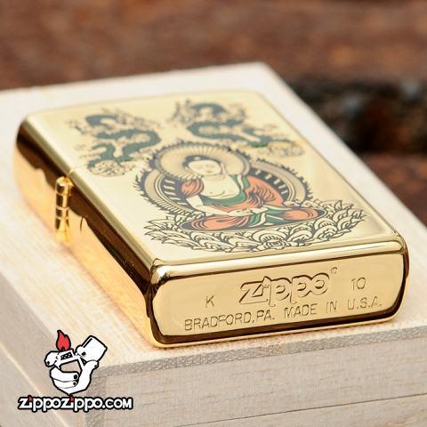 Bật lửa zippo chính hãng mạ vàng đức phật Thích Ca Mâu Ni K24GP