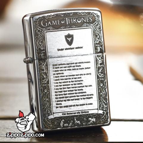 Bật lửa Zippo chính hãng màu bạc phiên bản Game of Thornes