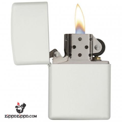 Bật lửa zippo chính hãng màu trắng tinh khiết 214