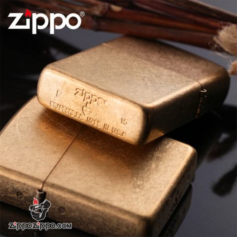 Bật lửa Zippo chính hãng mờ cát vàng xước Vỏ Dày