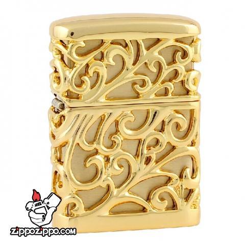 Bật lửa Zippo Chính hãng nhật vàng Regalia với hoạ tiết hoa văn đặc sắc