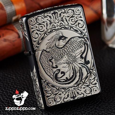 Bật lửa Zippo chính hãng  Bạc đen khắc hình Phượng Hoàng