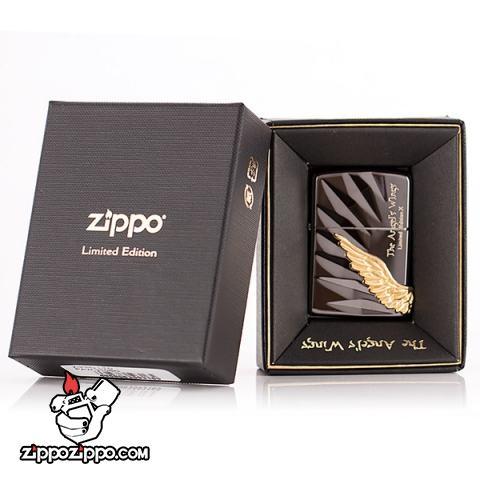 Bật lửa Zippo chính hãng phiên bản giới hạn màu đen Cánh thiên thần