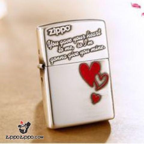 Bật lửa Zippo chính hãng phiên bản Hàn Quốc bạc trái tim tình yêu