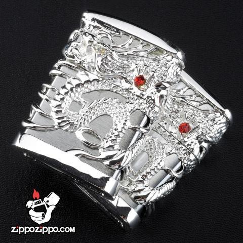 Bật lửa Zippo chính hãng rồng bạc quấn quanh