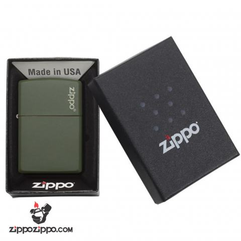 Bật lửa Zippo chính hãng sơn xanh lính