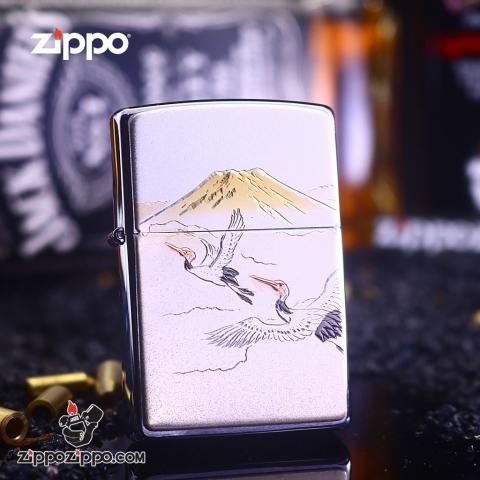 Bật Lửa Zippo Cò Trắng Bay Giữa Núi Và Trời