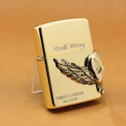Bật lửa zippo Đầu lâu -  skull wing mạ vàng  phiên bản Limited - Mã SP: ZPC1120