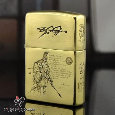 Bật lửa Zippo Đồng Bóng phiên bản Armor Khắc 300 chiến binh