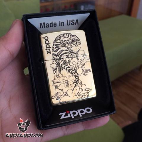 Bật Lửa Zippo Đồng Khắc Hình Chúa Sơn Lâm Dũng Mãnh