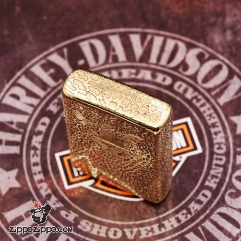 Bật lửa Zippo đồng khối khắc Báo đốm châu Mỹ