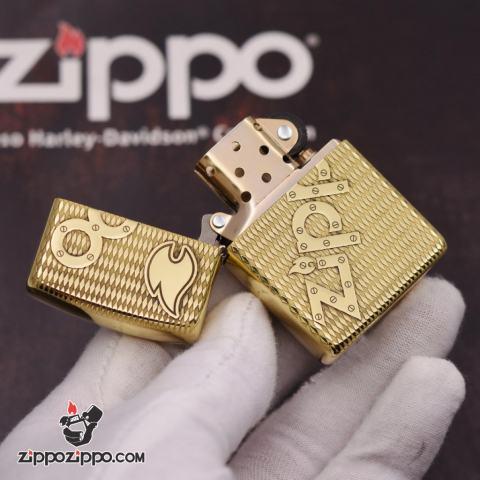 Bật lửa Zippo đồng khối khắc chữ Zippo nổi bản amor