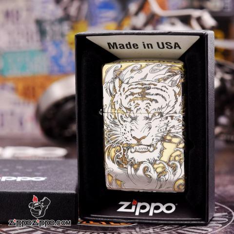 Bật lửa Zippo đồng khối khắc Hổ và móng vuốt Bản Chrome