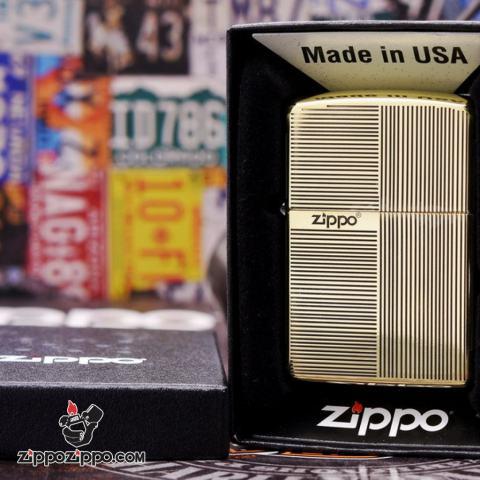 Bật lửa Zippo đồng khối khắc ô vuông kẻ sọc Bản Amorr