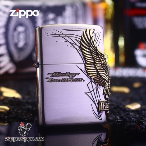 Bật Lửa zippo Harley Davidson Ốp Đại Bàng Cạnh Sườn Bạc Cổ