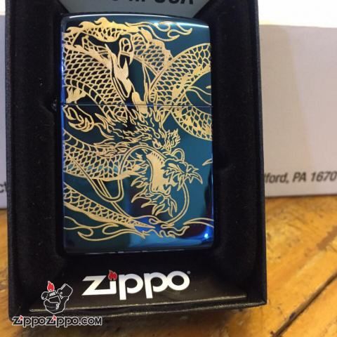 bật lửa zippo  khắc hình rồng quấn bao quanh Màu xanh Mạ Vàng