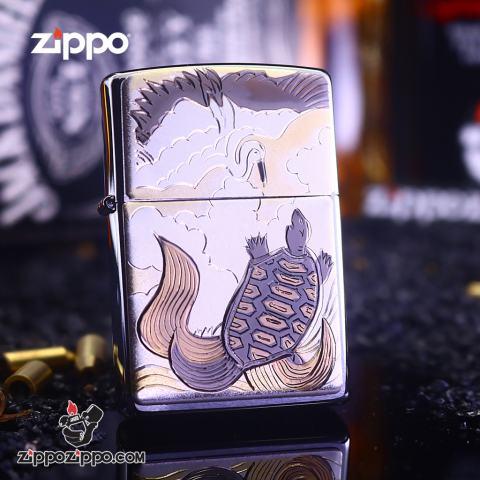 Bật Lửa Zippo Khắc Ông Rùa Vàng May Mắn