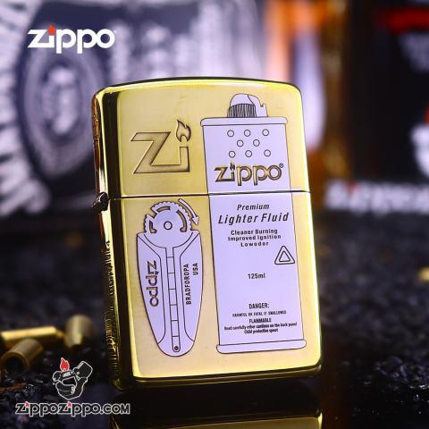 Bật Lửa Zippo Khắc Phụ Kiện Xăng Đá Lighter Fluid Bản Hai Màu Armor