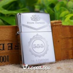Bật lửa zippo mầu bạc khắc hộp  555 - Mã SP: ZPC1422