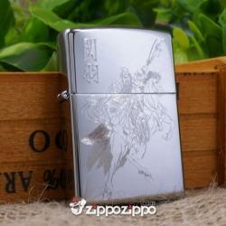 bật lửa zippo mầu bạc khắc quan công cưỡi ngựa - Mã SP: ZPC1453