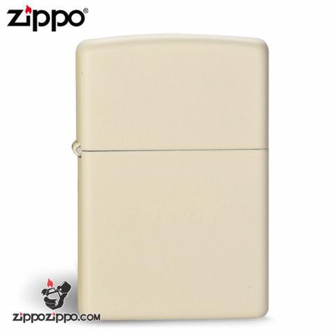 Bật Lửa Zippo màu sơn sữa trắng vàng