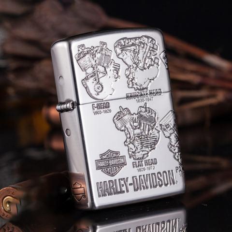 Bật lửa Zippo phiên bản bạc cổ điển động cơ Harley