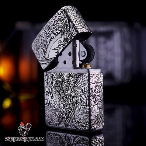 Bật lửa Zippo phiên bản Bạc nguyên khối Chạm Khắc Chim Phượng Hoàng Bản Armor
