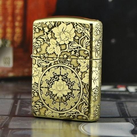 Bật lửa Zippo phiên bản đồng chạm khắc vòm hoa Mẫu Đơn vỏ dày