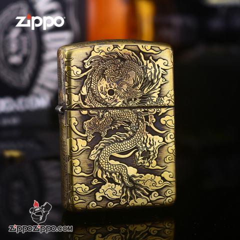 Bật Lửa Zippo Phiên Bản Đồng Cổ Nguyên Khối Khắc Rồng Ôm Ngọc