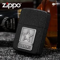 Bật lửa Zippo phiên bản sơn mài đen crack huy hiệu quân đội Mỹ - Mã SP: ZPC0851