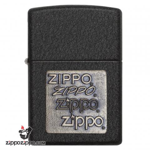 Bật lửa Zippo sơn mài đen khắc huy hiệu Zippo