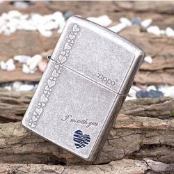 Bật lửa Zippo tình yêu chính hãng màu xám cổ - Mã SP: ZPC0035