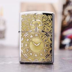 Zippo 250 Bạc khắc hình đồng hồ  màu đồng - Thời gian là tiền bạc - Mã SP: ZPC1699