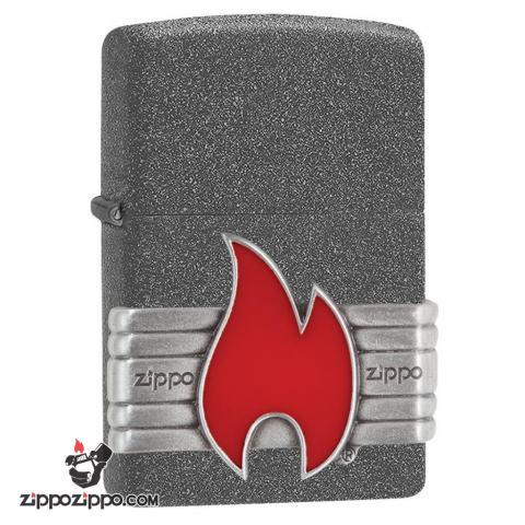 Zippo 29663 – Zippo Vintage Red Flame Wrap Iron Stone