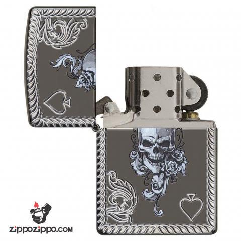 Zippo 29666 – Zippo Armor Skull and Spades Black Ice