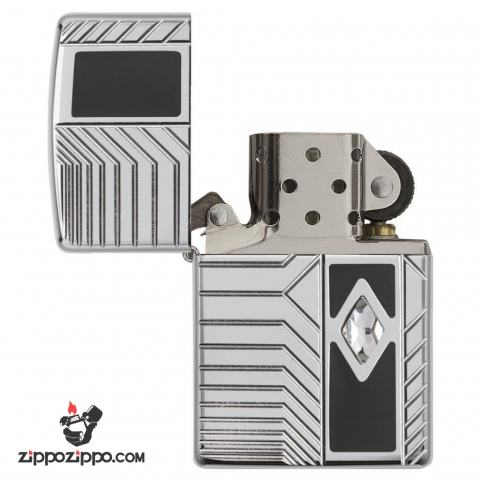 Zippo 29669 – Zippo Armor Deep Carve and Crystal High Polish Chrome